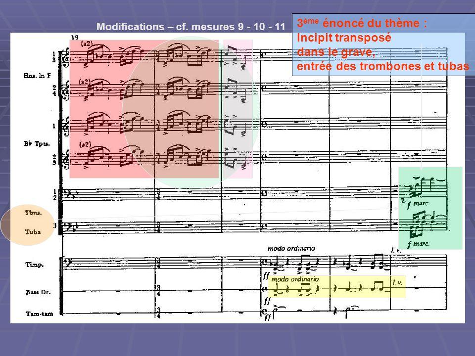 Modifications – cf. mesures 9 - 10 - 11 3 ème énoncé du thème : Incipit transposé dans le grave, entrée des trombones et tubas