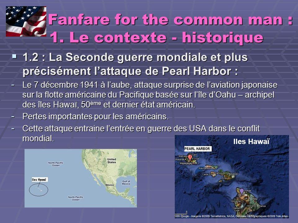 Fanfare for the common man : 1.Le contexte Fanfare for the common man : 1.