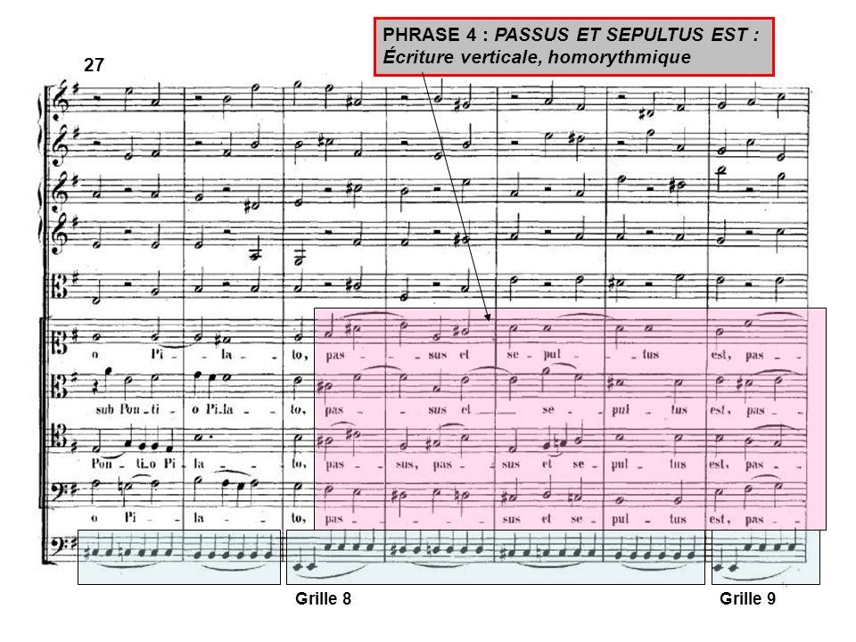 27 Grille 8Grille 9 PHRASE 4 : PASSUS ET SEPULTUS EST : Écriture verticale, homorythmique