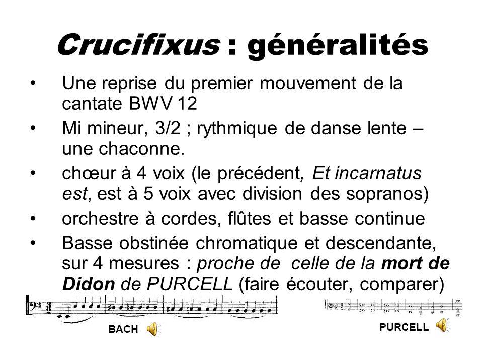 Crucifixus : généralités Une reprise du premier mouvement de la cantate BWV 12 Mi mineur, 3/2 ; rythmique de danse lente – une chaconne. chœur à 4 voi