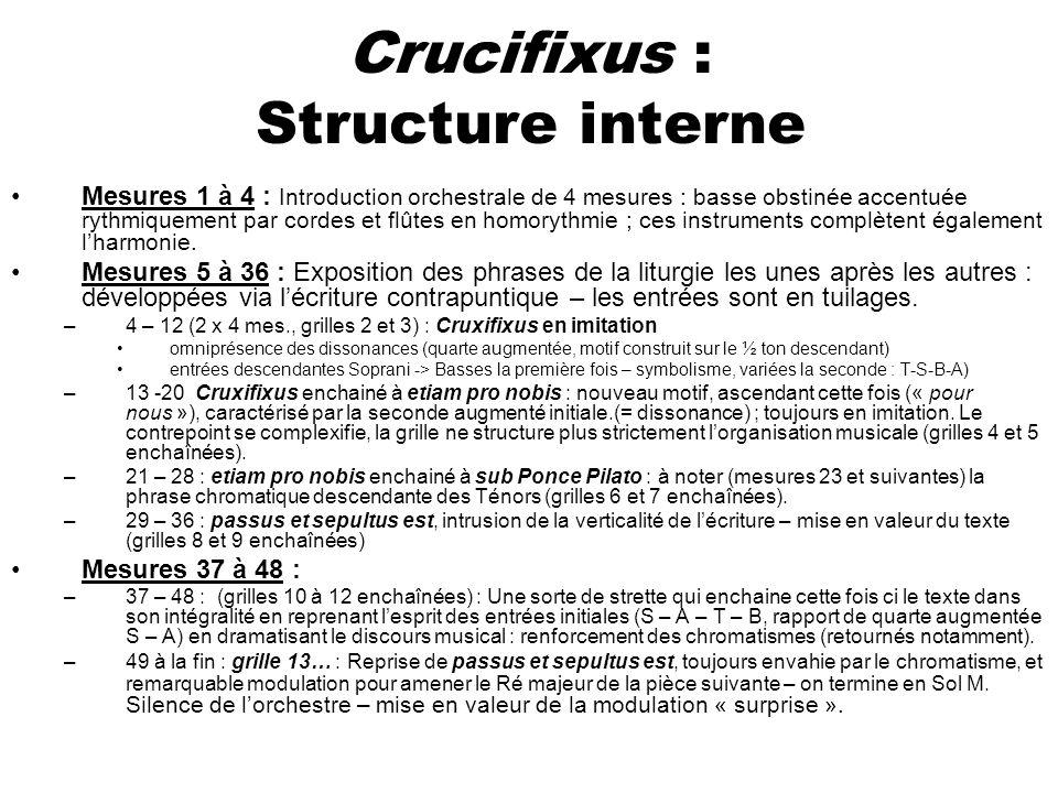 Crucifixus : Structure interne Mesures 1 à 4 : Introduction orchestrale de 4 mesures : basse obstinée accentuée rythmiquement par cordes et flûtes en
