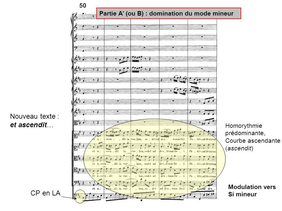 50 CP en LA Partie A (ou B) : domination du mode mineur Nouveau texte : et ascendit… Modulation vers Si mineur Homorythmie prédominante, Courbe ascend