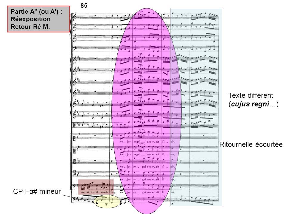 85 CP Fa# mineur Partie A (ou A) : Réexposition Retour Ré M. Texte différent (cujus regni…) Ritournelle écourtée