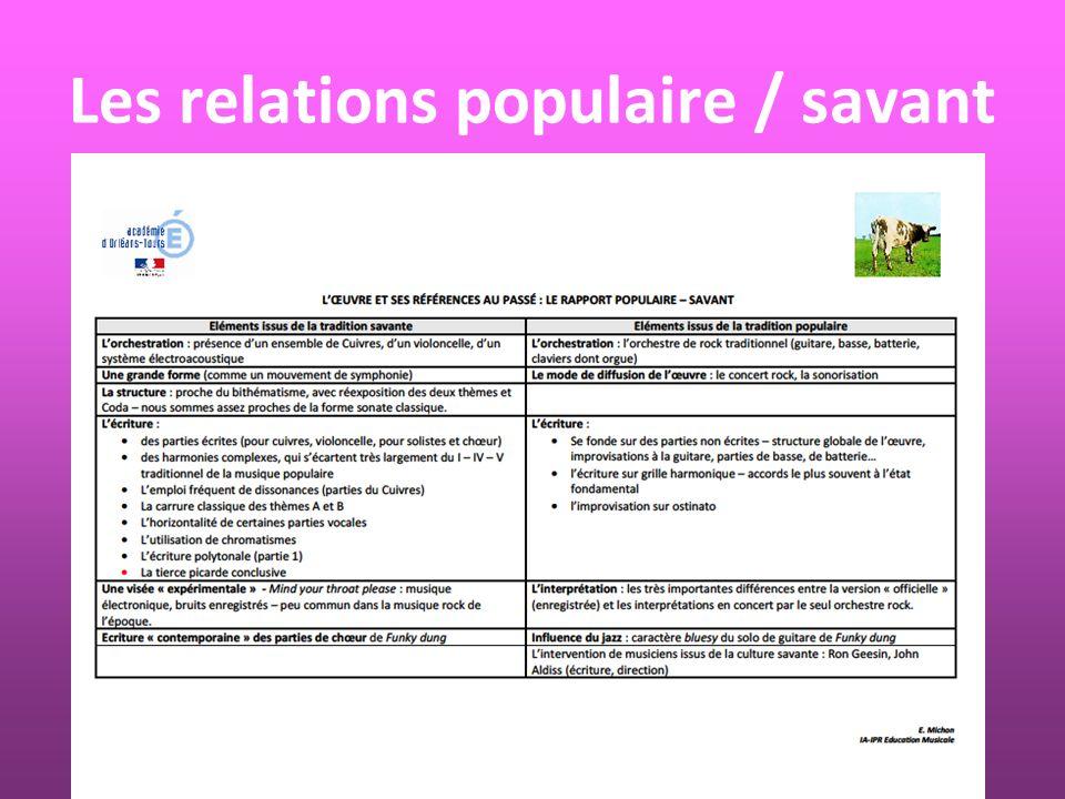 Les relations populaire / savant