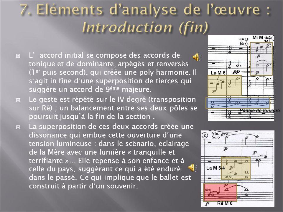 L accord initial se compose des accords de tonique et de dominante, arpégés et renversés (1 er puis second), qui créée une poly harmonie. Il sagit in