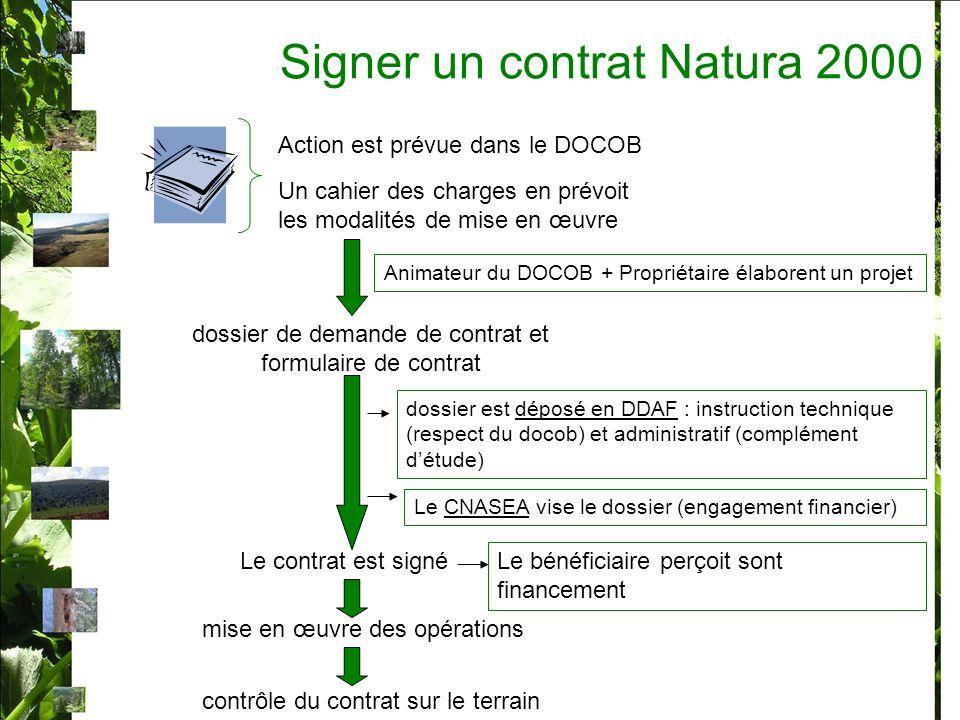 Signer un contrat Natura 2000 Action est prévue dans le DOCOB Un cahier des charges en prévoit les modalités de mise en œuvre Animateur du DOCOB + Pro