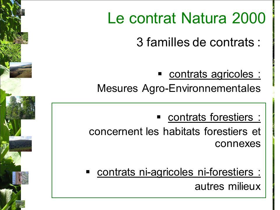 Le contrat Natura 2000 3 familles de contrats : contrats agricoles : Mesures Agro-Environnementales contrats forestiers : concernent les habitats fore