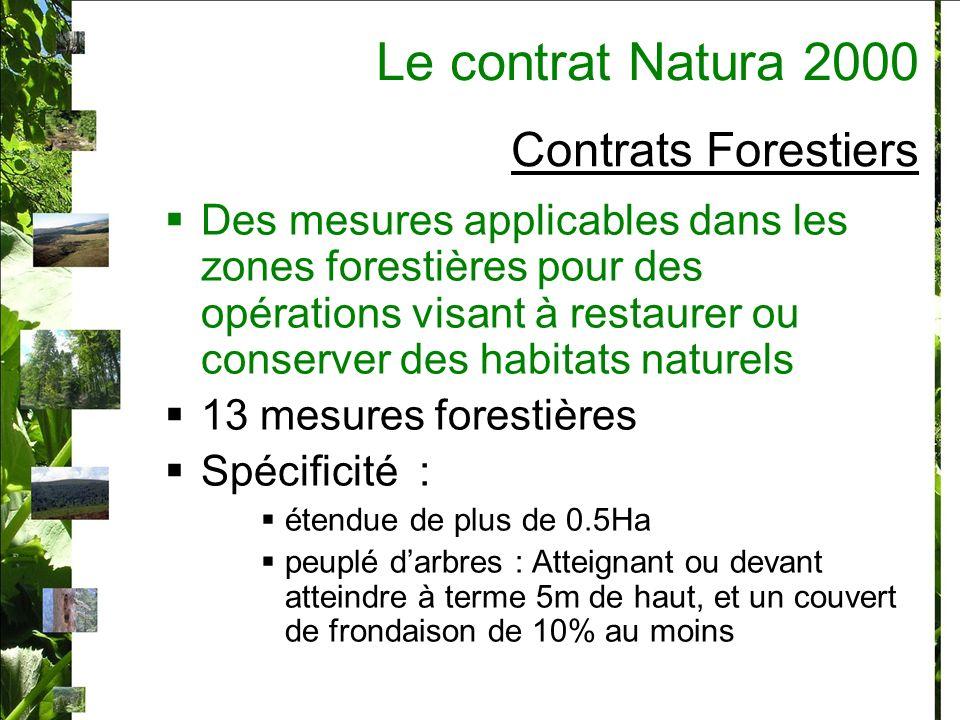 Contrats Forestiers Des mesures applicables dans les zones forestières pour des opérations visant à restaurer ou conserver des habitats naturels 13 mesures forestières Spécificité : étendue de plus de 0.5Ha peuplé darbres : Atteignant ou devant atteindre à terme 5m de haut, et un couvert de frondaison de 10% au moins Le contrat Natura 2000