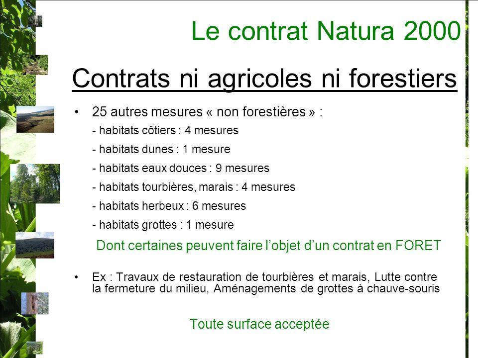 Contrats ni agricoles ni forestiers 25 autres mesures « non forestières » : - habitats côtiers : 4 mesures - habitats dunes : 1 mesure - habitats eaux