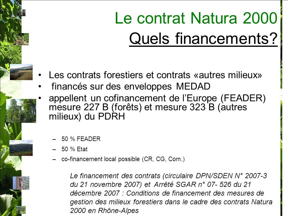 Les contrats forestiers en Région Rhône-Alpes : 35 contrats signées (entre 2005 et 2007) 1 million deuros contractualisés En moyenne 30 000 par contrat (5 400 <>80 000) 1 contrat en forêt privée 24 contrats en forêts des collectivités (communales / départementales ) 11 en forêts domaniales