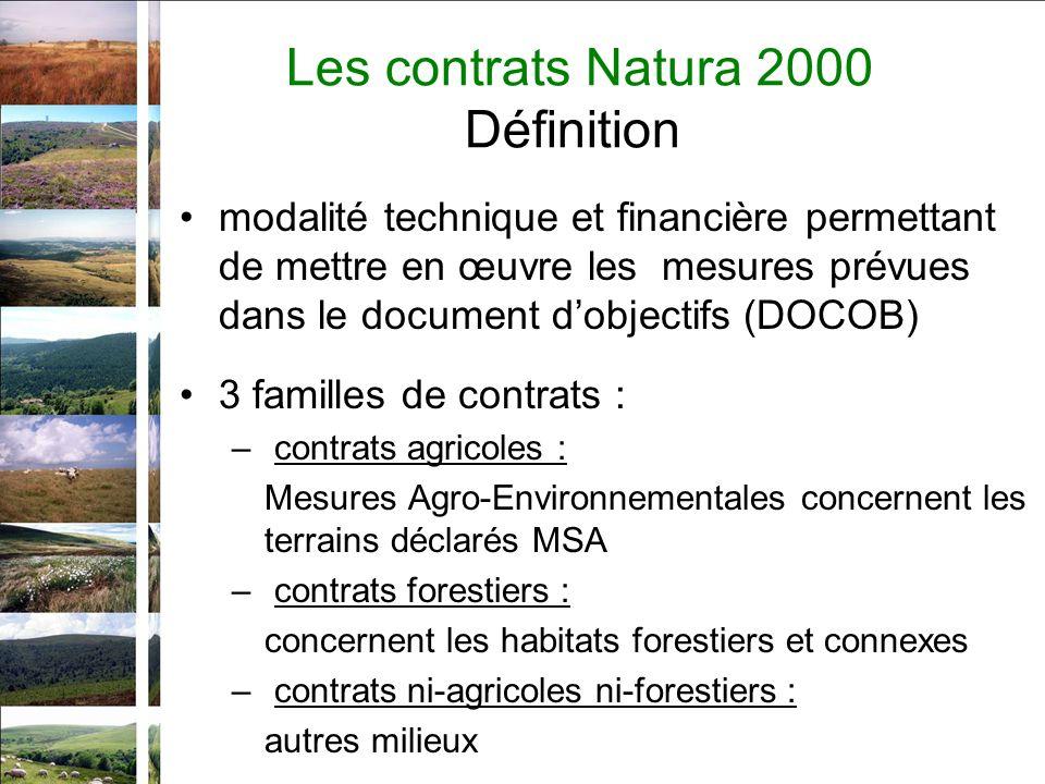 Les contrats Natura 2000 Définition modalité technique et financière permettant de mettre en œuvre les mesures prévues dans le document dobjectifs (DOCOB) 3 familles de contrats : – contrats agricoles : Mesures Agro-Environnementales concernent les terrains déclarés MSA – contrats forestiers : concernent les habitats forestiers et connexes – contrats ni-agricoles ni-forestiers : autres milieux