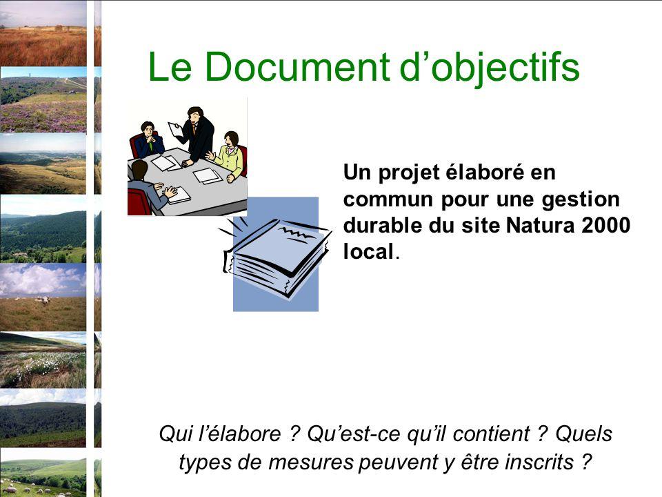 Le Document dobjectifs Qui lélabore ? Quest-ce quil contient ? Quels types de mesures peuvent y être inscrits ? Un projet élaboré en commun pour une g