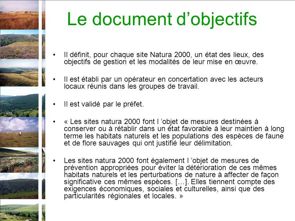 Le document dobjectifs Il définit, pour chaque site Natura 2000, un état des lieux, des objectifs de gestion et les modalités de leur mise en œuvre.