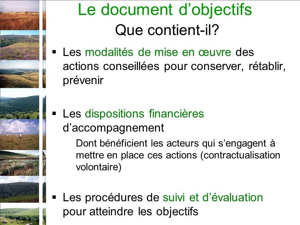 Le document dobjectifs Que contient-il? Les modalités de mise en œuvre des actions conseillées pour conserver, rétablir, prévenir Les dispositions fin