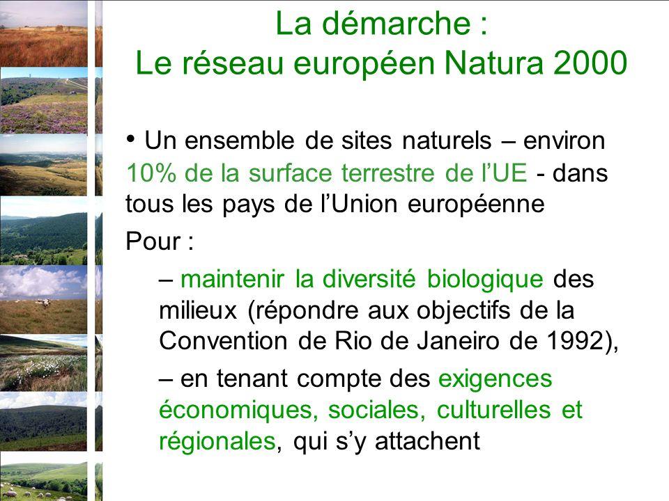 La démarche : Le réseau européen Natura 2000 Un ensemble de sites naturels – environ 10% de la surface terrestre de lUE - dans tous les pays de lUnion européenne Pour : – maintenir la diversité biologique des milieux (répondre aux objectifs de la Convention de Rio de Janeiro de 1992), – en tenant compte des exigences économiques, sociales, culturelles et régionales, qui sy attachent