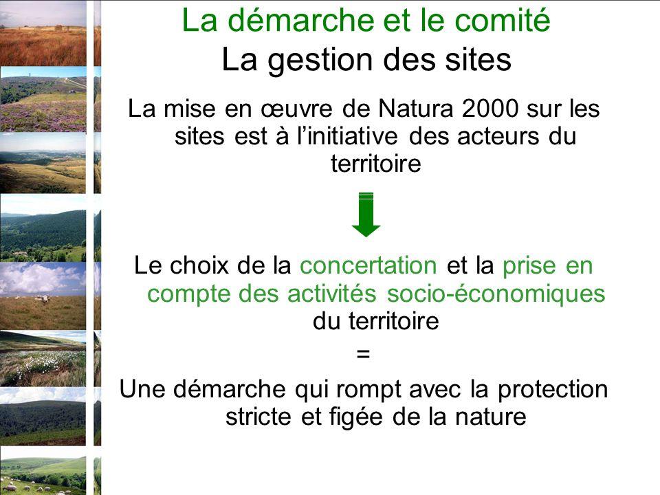 La mise en œuvre de Natura 2000 sur les sites est à linitiative des acteurs du territoire Le choix de la concertation et la prise en compte des activités socio-économiques du territoire = Une démarche qui rompt avec la protection stricte et figée de la nature La démarche et le comité La gestion des sites