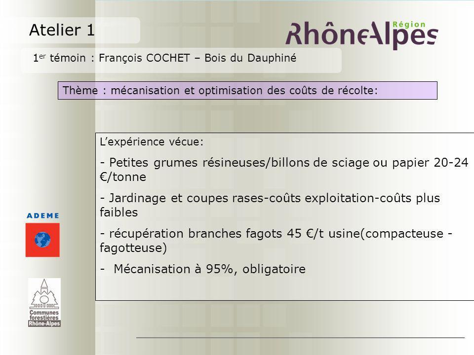 Atelier 1 1 er témoin : François COCHET – Bois du Dauphiné Thème : mécanisation et optimisation des coûts de récolte: Lexpérience vécue: - Petites gru