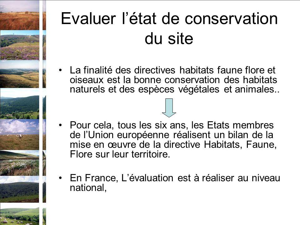 Evaluer létat de conservation du site La finalité des directives habitats faune flore et oiseaux est la bonne conservation des habitats naturels et des espèces végétales et animales..