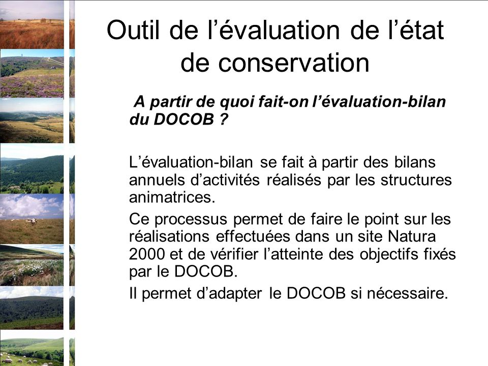 A partir de quoi fait-on lévaluation-bilan du DOCOB .