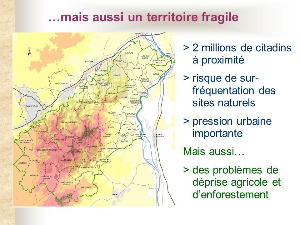 …mais aussi un territoire fragile > 2 millions de citadins à proximité > risque de sur- fréquentation des sites naturels > pression urbaine importante