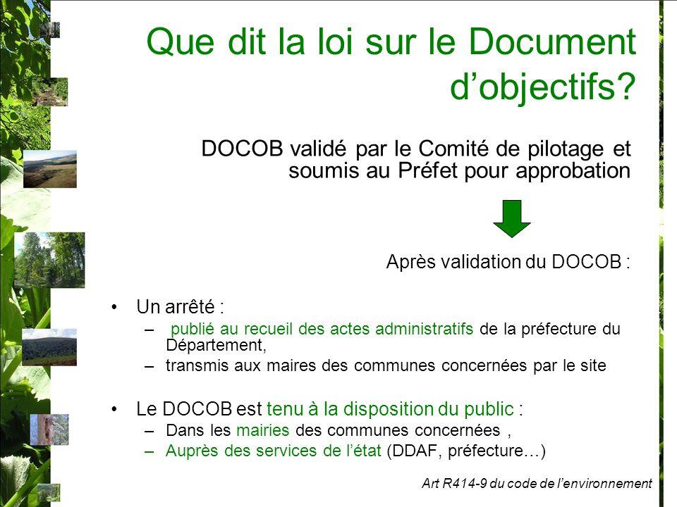 Que dit la loi sur le Document dobjectifs.