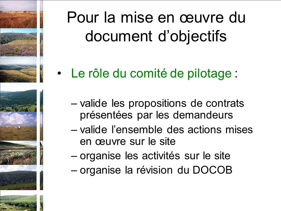 Pour la mise en œuvre du document dobjectifs Le rôle du comité de pilotage : –valide les propositions de contrats présentées par les demandeurs –valid