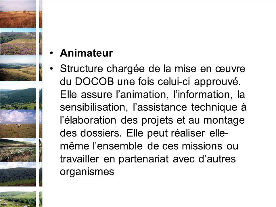 Animateur Structure chargée de la mise en œuvre du DOCOB une fois celui-ci approuvé. Elle assure lanimation, linformation, la sensibilisation, lassist