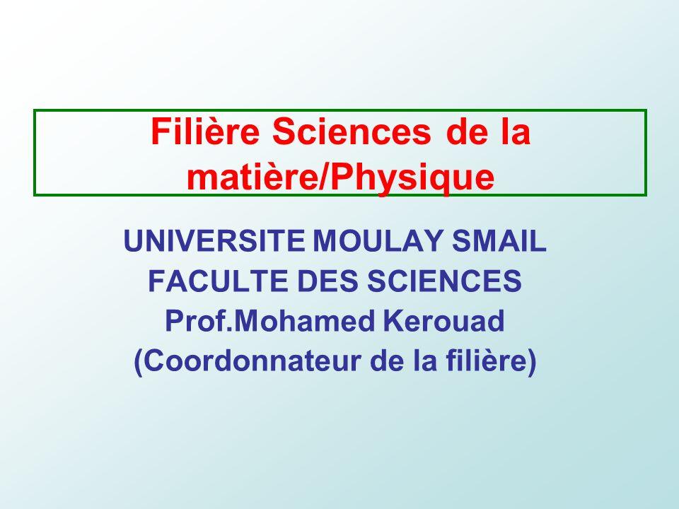 Filière Sciences de la matière/Physique UNIVERSITE MOULAY SMAIL FACULTE DES SCIENCES Prof.Mohamed Kerouad (Coordonnateur de la filière)