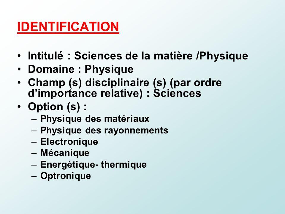 IDENTIFICATION Intitulé : Sciences de la matière /Physique Domaine : Physique Champ (s) disciplinaire (s) (par ordre dimportance relative) : Sciences
