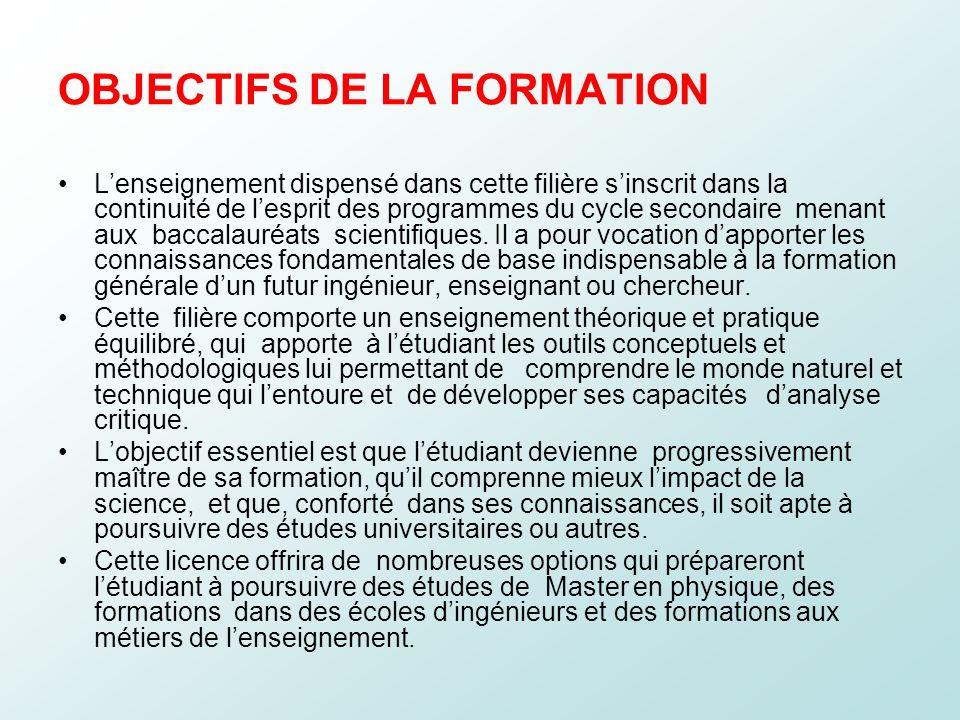 OBJECTIFS DE LA FORMATION Lenseignement dispensé dans cette filière sinscrit dans la continuité de lesprit des programmes du cycle secondaire menant a