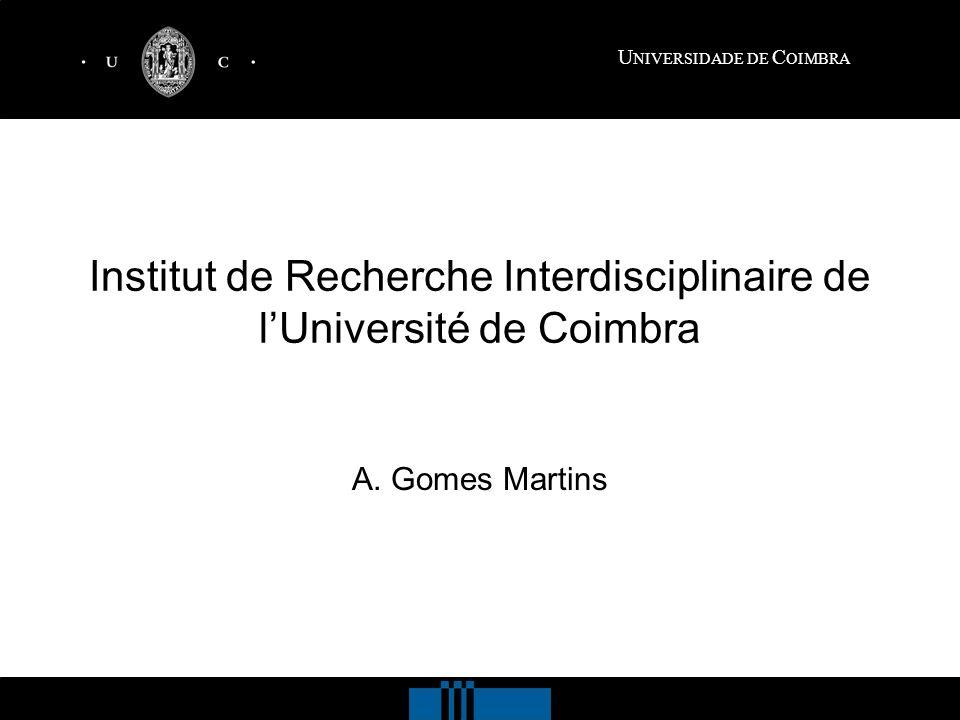 U NIVERSIDADE DE C OIMBRA Institut de Recherche Interdisciplinaire de lUniversité de Coimbra A.