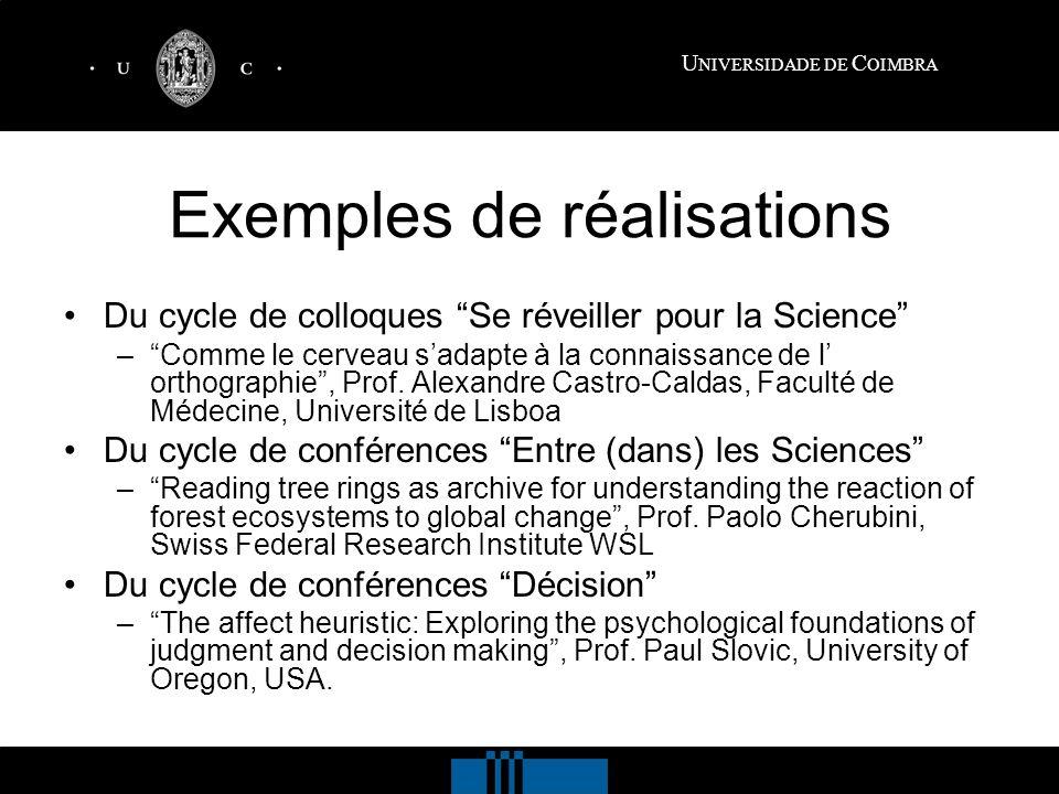 U NIVERSIDADE DE C OIMBRA Exemples de réalisations Du cycle de colloques Se réveiller pour la Science –Comme le cerveau sadapte à la connaissance de l orthographie, Prof.