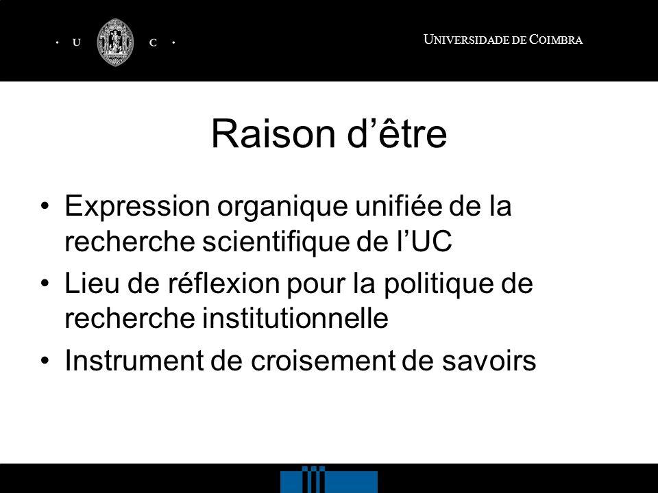 Raison dêtre Expression organique unifiée de la recherche scientifique de lUC Lieu de réflexion pour la politique de recherche institutionnelle Instrument de croisement de savoirs