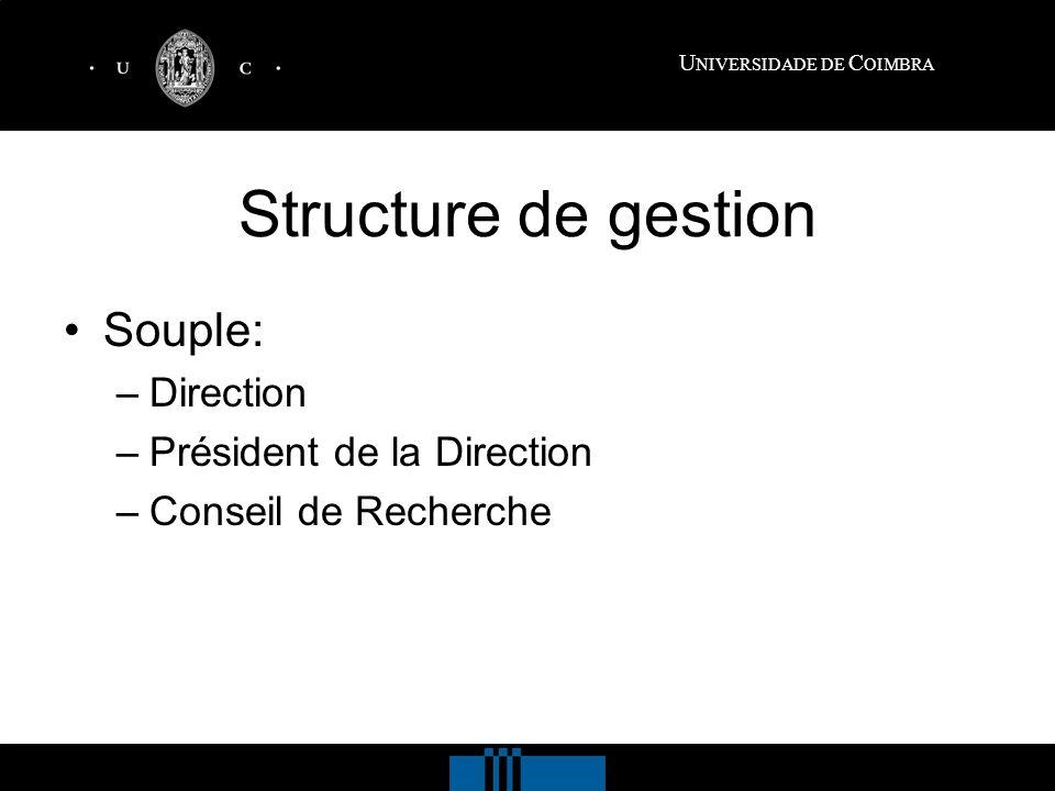 U NIVERSIDADE DE C OIMBRA Structure de gestion Souple: –Direction –Président de la Direction –Conseil de Recherche