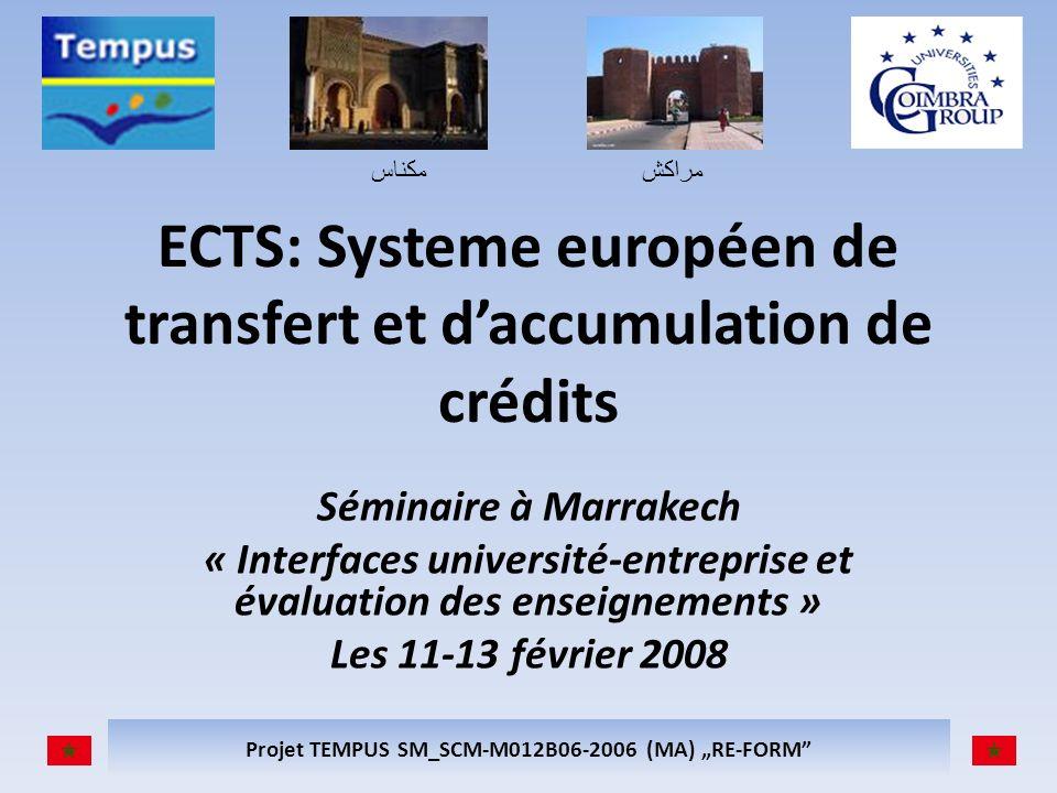 مكناسمراكش Projet TEMPUS SM_SCM-M012B06-2006 (MA) RE-FORM ECTS: Systeme européen de transfert et daccumulation de crédits Séminaire à Marrakech « Interfaces université-entreprise et évaluation des enseignements » Les 11-13 février 2008