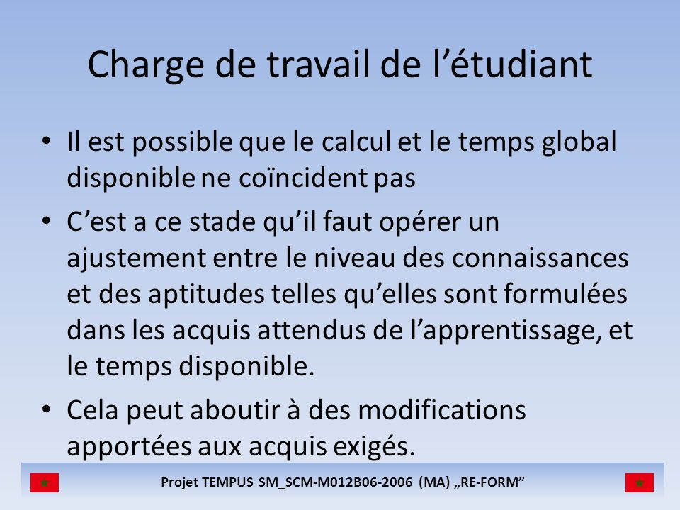 Projet TEMPUS SM_SCM-M012B06-2006 (MA) RE-FORM Charge de travail de létudiant Il est possible que le calcul et le temps global disponible ne coïnciden