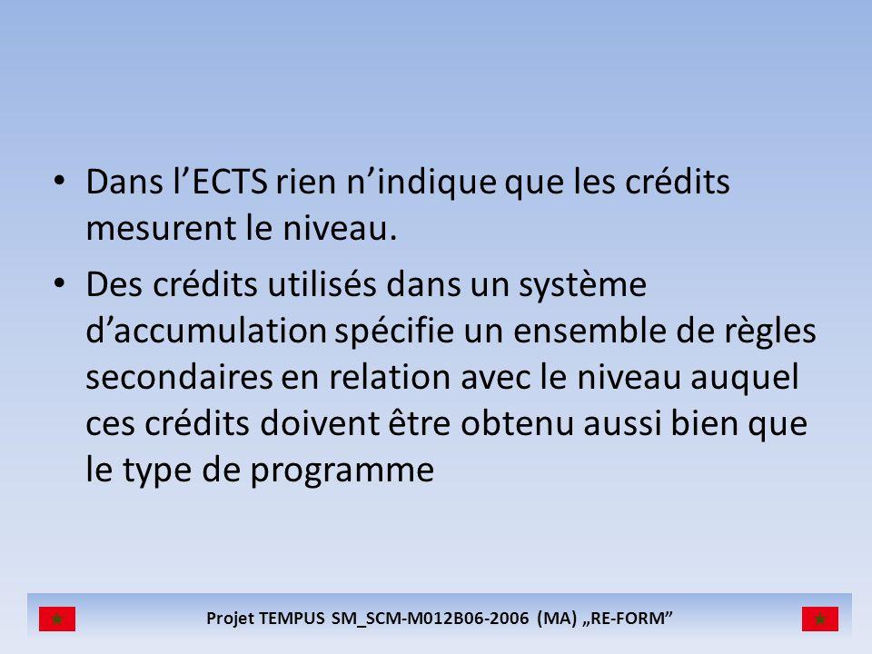Projet TEMPUS SM_SCM-M012B06-2006 (MA) RE-FORM Dans lECTS rien nindique que les crédits mesurent le niveau. Des crédits utilisés dans un système daccu