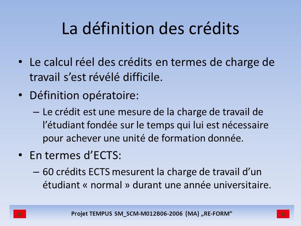 Projet TEMPUS SM_SCM-M012B06-2006 (MA) RE-FORM La définition des crédits Le calcul réel des crédits en termes de charge de travail sest révélé difficile.