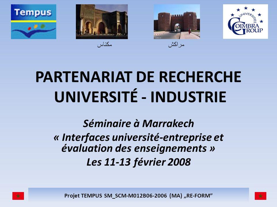 مكناسمراكش Projet TEMPUS SM_SCM-M012B06-2006 (MA) RE-FORM PARTENARIAT DE RECHERCHE UNIVERSITÉ - INDUSTRIE Séminaire à Marrakech « Interfaces universit