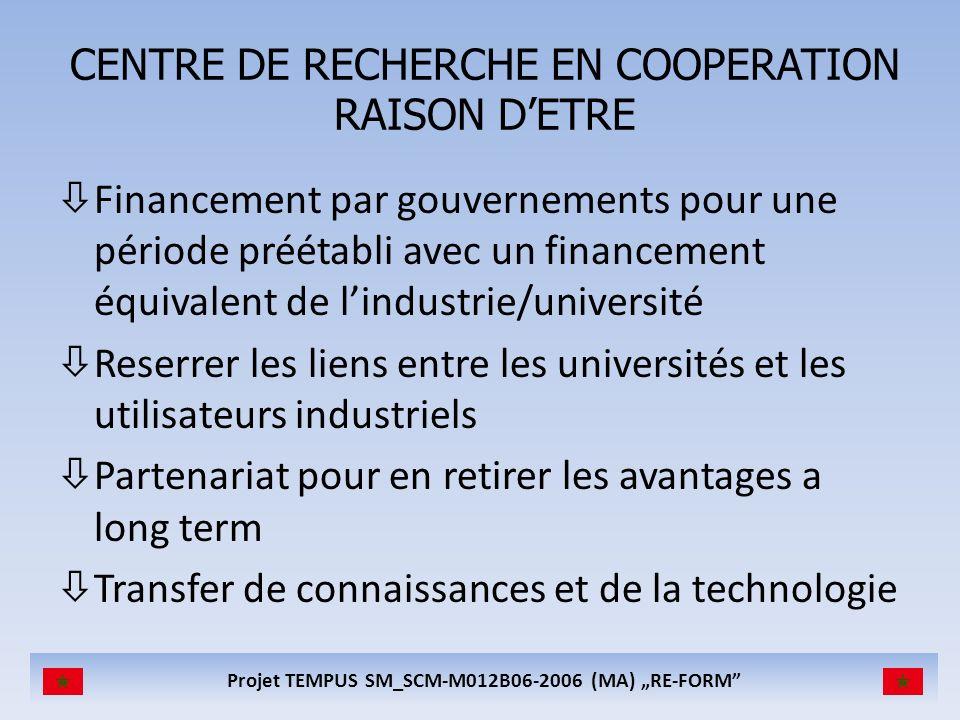 Projet TEMPUS SM_SCM-M012B06-2006 (MA) RE-FORM CENTRE DE RECHERCHE EN COOPERATION RAISON DETRE òFinancement par gouvernements pour une période préétab