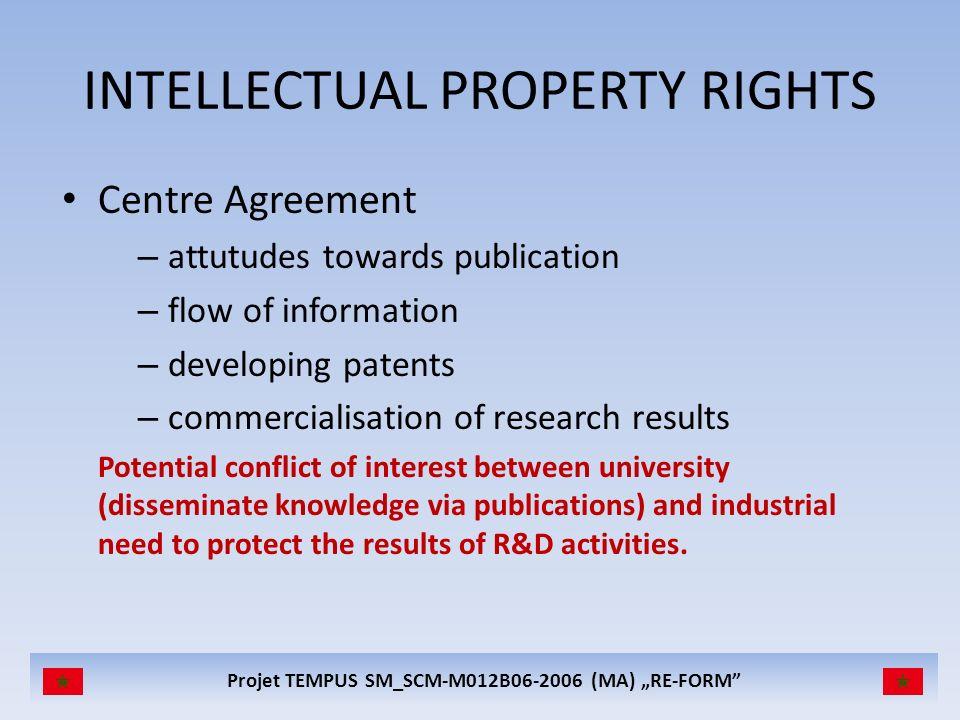 Projet TEMPUS SM_SCM-M012B06-2006 (MA) RE-FORM INTELLECTUAL PROPERTY RIGHTS Centre Agreement – attutudes towards publication – flow of information – d