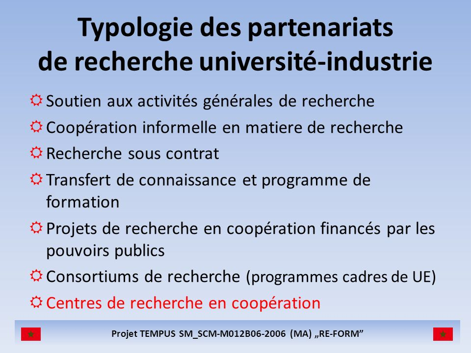 Projet TEMPUS SM_SCM-M012B06-2006 (MA) RE-FORM INTELLECTUAL PROPERTY RIGHTS Centre Agreement – attutudes towards publication – flow of information – developing patents – commercialisation of research results Potential conflict of interest between university (disseminate knowledge via publications) and industrial need to protect the results of R&D activities.