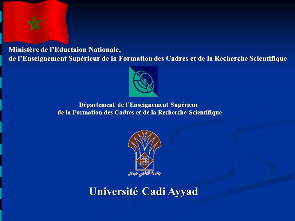 Ministère de lEductaion Nationale, de lEnseignement Supérieur de la Formation des Cadres et de la Recherche Scientifique Université Cadi Ayyad Départe