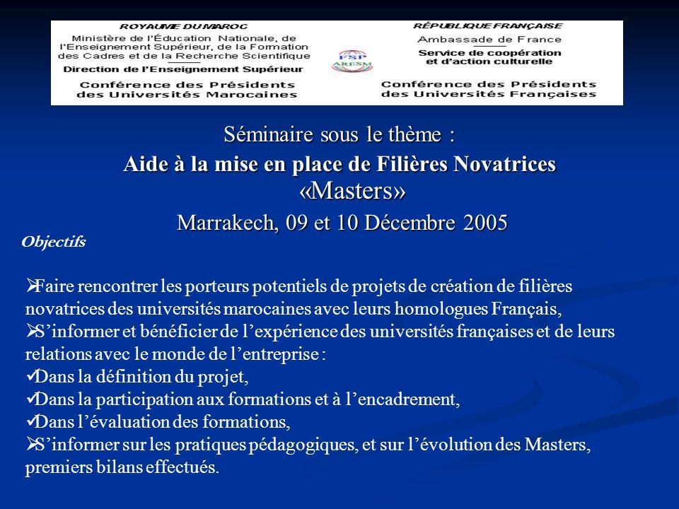 Séminaire sous le thème : Aide à la mise en place de Filières Novatrices «Masters» Marrakech, 09 et 10 Décembre 2005 Marrakech, 09 et 10 Décembre 2005