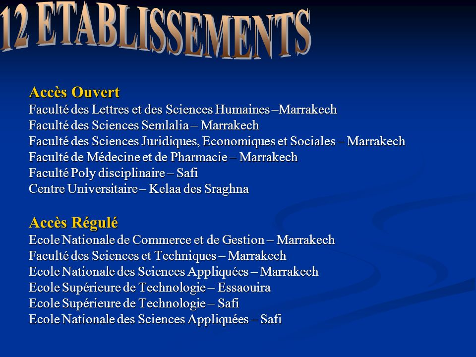 Accès Ouvert Faculté des Lettres et des Sciences Humaines –Marrakech Faculté des Sciences Semlalia – Marrakech Faculté des Sciences Juridiques, Econom