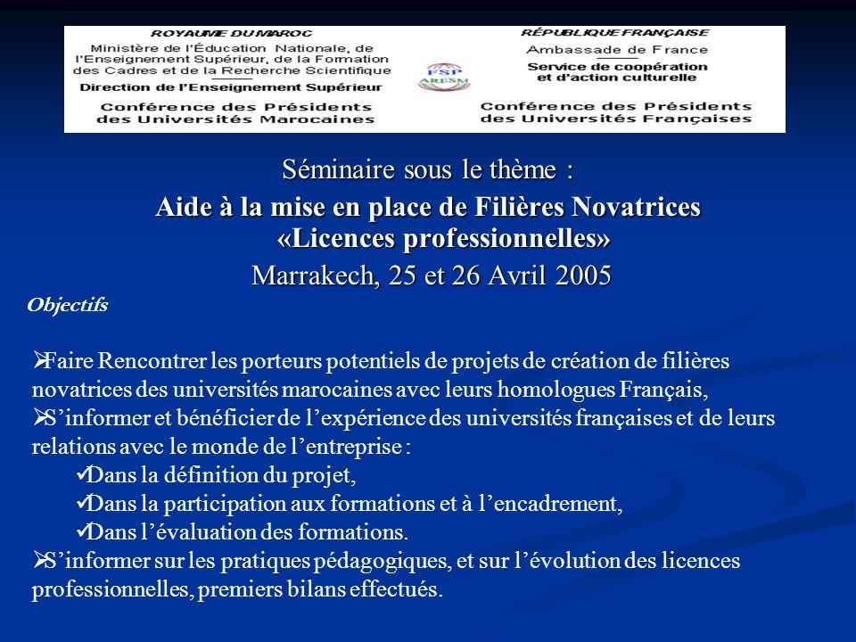 Séminaire sous le thème : Aide à la mise en place de Filières Novatrices «Licences professionnelles» Marrakech, 25 et 26 Avril 2005 Marrakech, 25 et 2