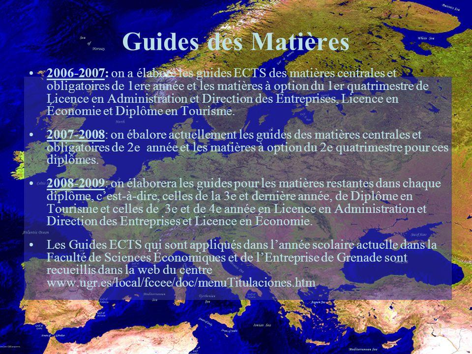 Guides des Matières 2006-2007: on a élaboré les guides ECTS des matières centrales et obligatoires de 1ere année et les matières à option du 1er quatrimestre de Licence en Administration et Direction des Entreprises, Licence en Économie et Diplôme en Tourisme.