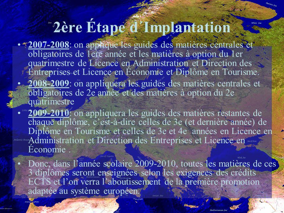 2ère Étape d´Implantation 2007-2008: on applique les guides des matières centrales et obligatoires de 1ere année et les matières à option du 1er quatrimestre de Licence en Administration et Direction des Entreprises et Licence en Économie et Diplôme en Tourisme.