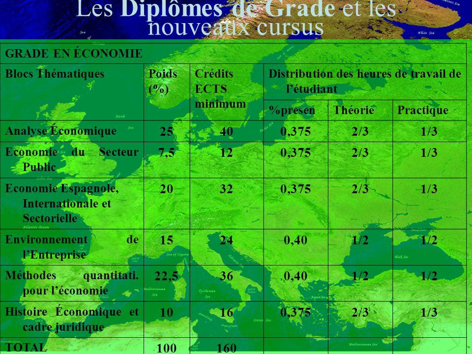 GRADE EN ÉCONOMIE Blocs ThématiquesPoids (%) Crédits ECTS minimum Distribution des heures de travail de létudiant %presenThéoriePractique Analyse Économique 25400,3752/31/3 Economie du Secteur Public 7,5120,3752/31/3 Economie Espagnole, Internationale et Sectorielle 20320,3752/31/3 Environnement de lEntreprise 15240,401/2 Méthodes quantitati.