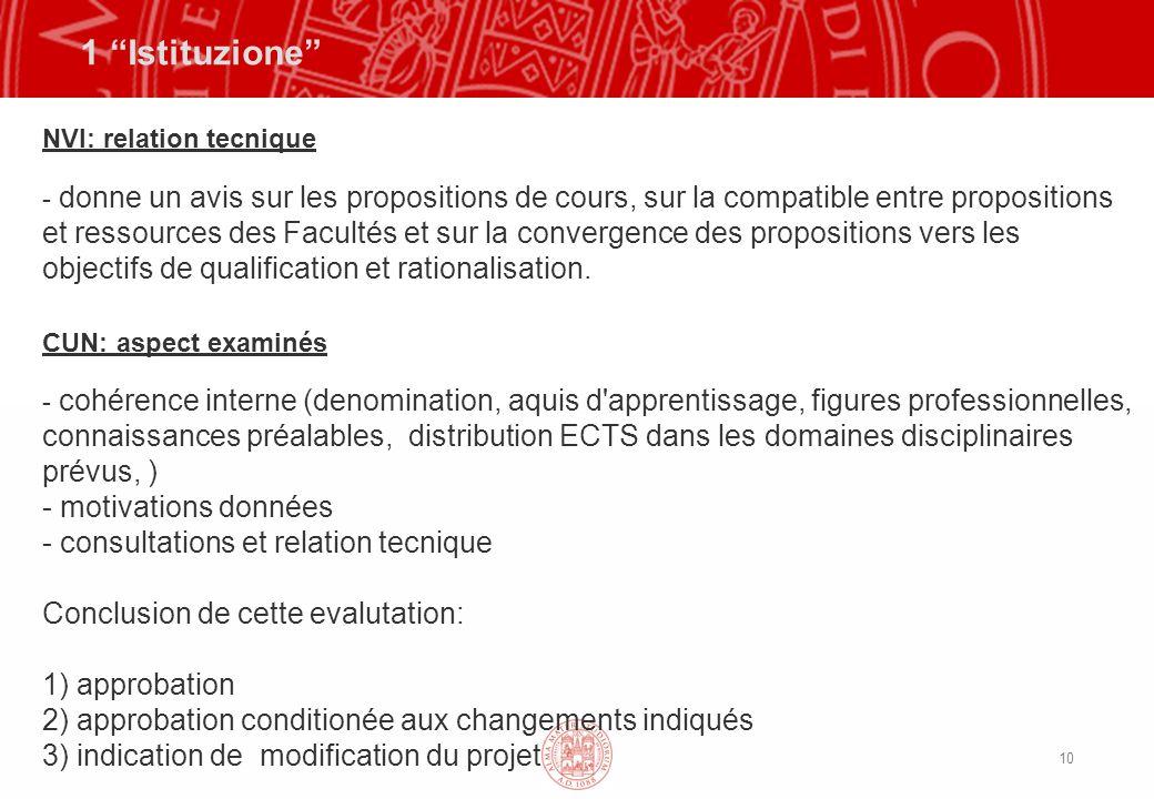 10 1 Istituzione NVI: relation tecnique - donne un avis sur les propositions de cours, sur la compatible entre propositions et ressources des Facultés et sur la convergence des propositions vers les objectifs de qualification et rationalisation.